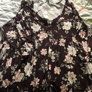 Torrid floral babydoll button up blouse